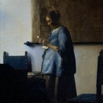 Woman in blue reading letter-Jan Johannes Vermeer