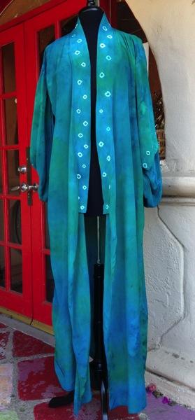 Emerald Blue kimono floor length